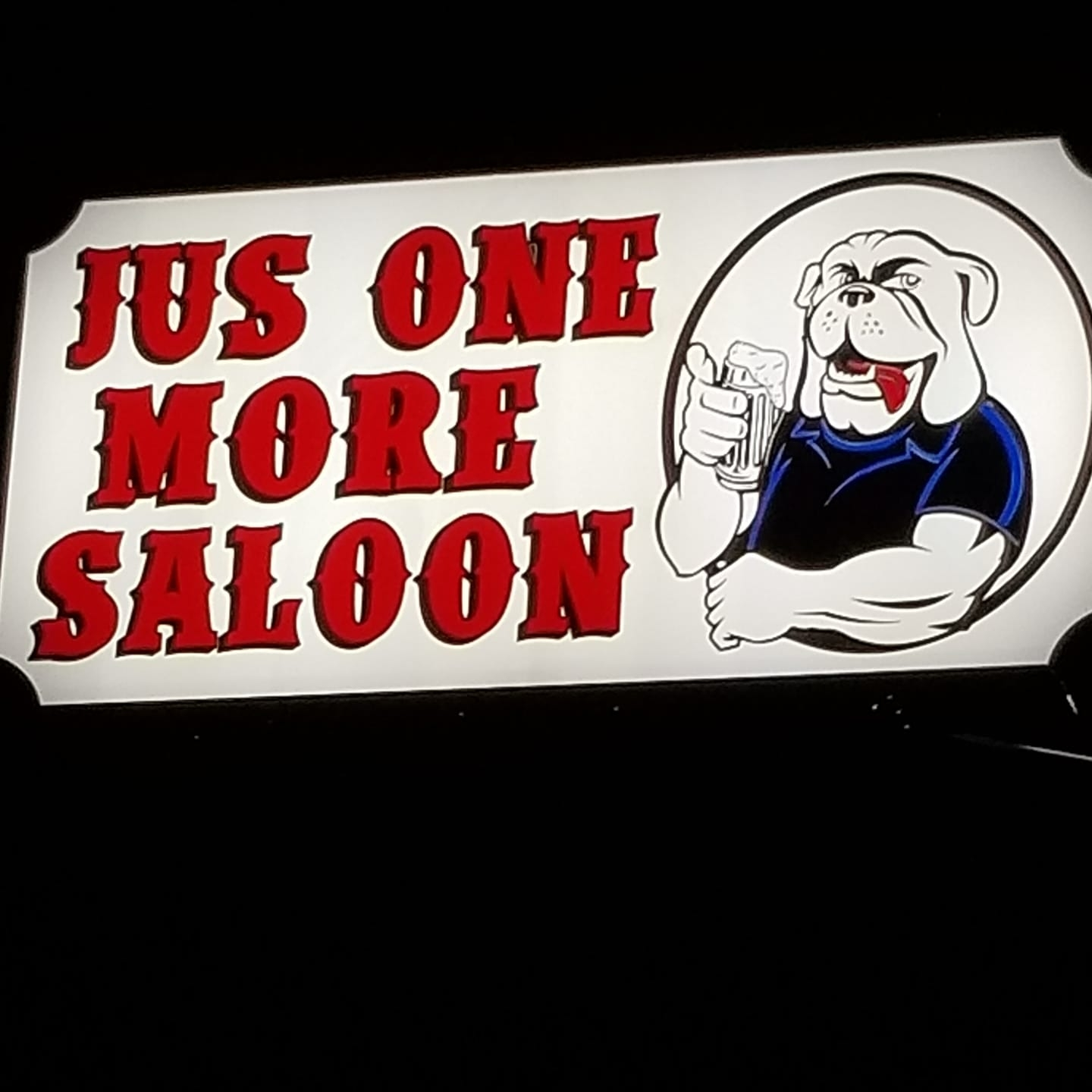 Jus One More Saloon logo