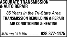 Print Ad of Accurate Transmission & Auto Repair