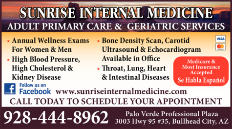 Yellow Pages Ad of Sunrise Internal Medicine