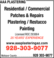 Yellow Pages Ad of Aaa Plastering