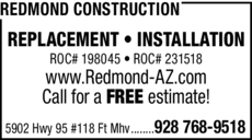 Yellow Pages Ad of Redmond Construction
