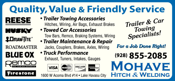 Yellow Pages Ad of Mohave Hitch & Welding Llc
