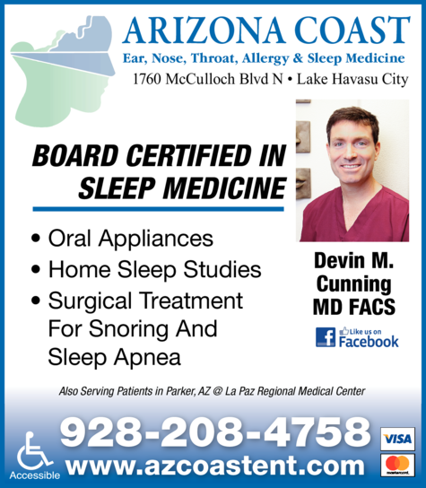 Yellow Pages Ad of Arizona Coast Ear Nose Throat Allergy & Sleep Medicine