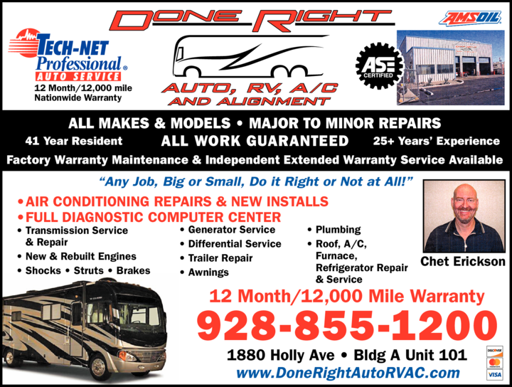 Yellow Pages Ad of Done Right Auto Rv A/C & Alignment