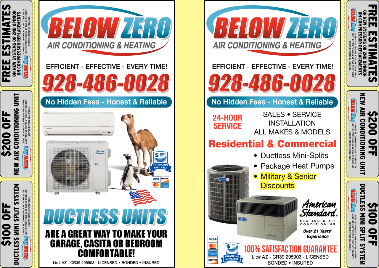 Yellow Pages Ad of Below Zero Air Conditioning & Heating