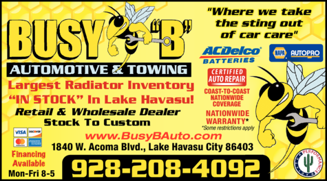 Print Ad of Busy B Automotive & Towing