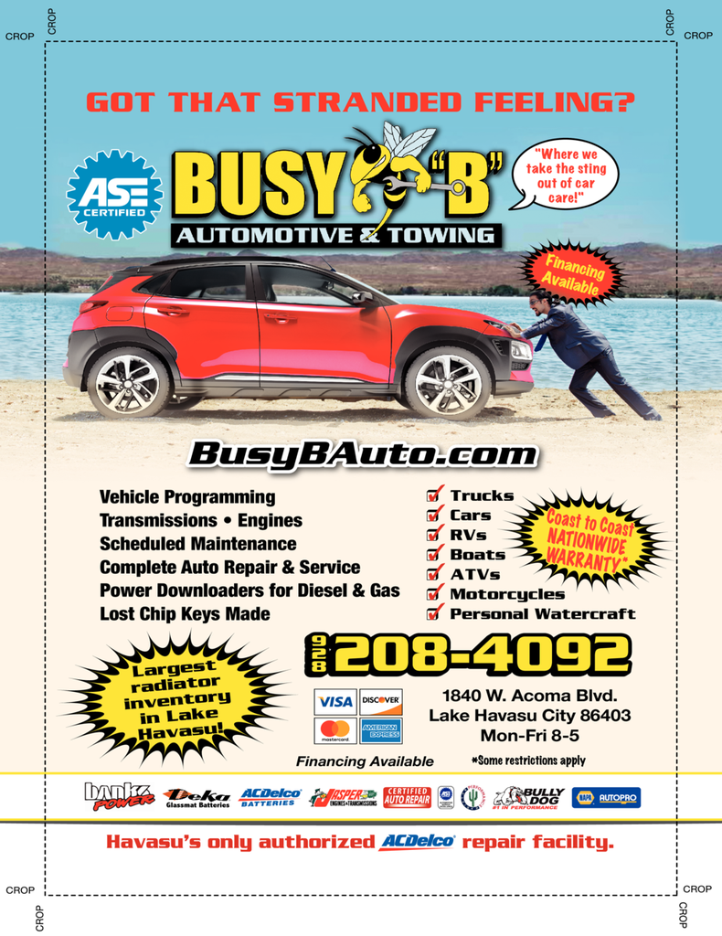 Yellow Pages Ad of Busy B Automotive & Towing